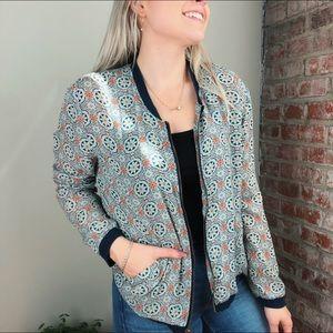 Printed boho bomber jacket